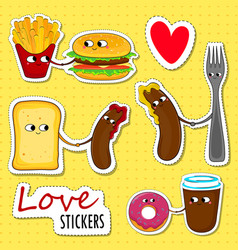 Fast food love stickers vector