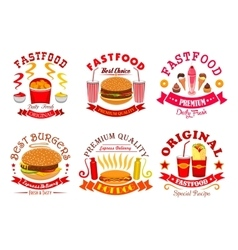 Fast food snack dessert menu signs icons set vector image