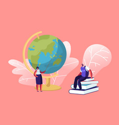 female teacher stand with pointer at globe in vector image