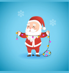 festive christmas funny santa claus holding lamp vector image