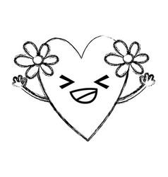 Figure happy heart with flowers kawaii cartoon vector