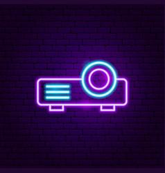 film projector neon label vector image