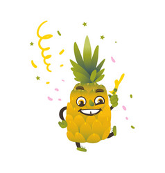 flat funny pineapple fruit character party vector image