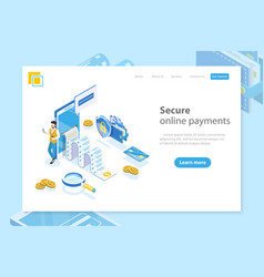 Flat isometric landing page header for vector
