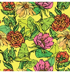 Floral Seamless Pattern with hand drawn flowers on vector