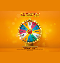 Fortune wheel spinning on bokeh background vector