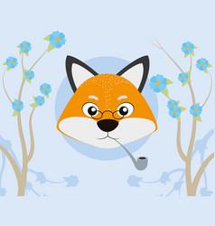 Fox cute cartoon vector