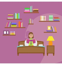 girl reading book sitting on bed vector image