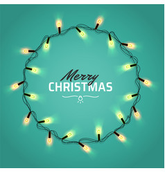 Glowing christmas realistic lights wreath for xmas vector