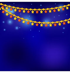 Golden Christmas stars on blue background vector image