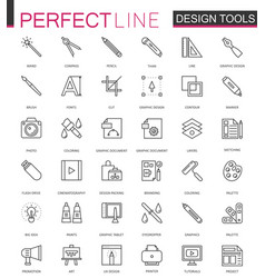 Graphic design program tools icon palettes thin vector