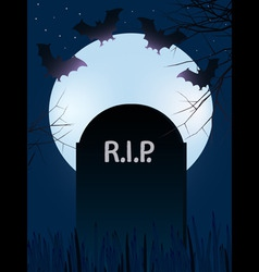 Gravestone with rest in peace with full moon and b vector