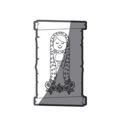 Grayscale silhouette of canvas of virgin of vector