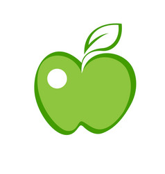 green apple flat flat icon vector image