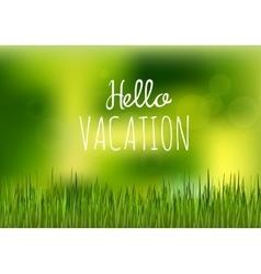 green grass hello vacation vector image