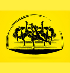 group of people dancing street dance action vector image