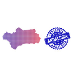 Halftone gradient map of andalusia province and vector