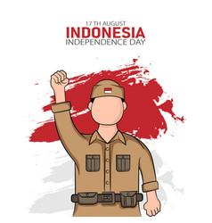 hand drawn indonesia independence day greeting vector image