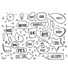 Hand drawn speech bubbles with hi hello vector