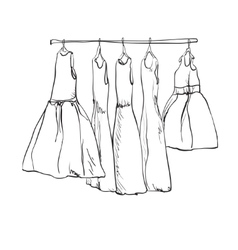 Hand drawn wardrobe sketch for children Dress vector