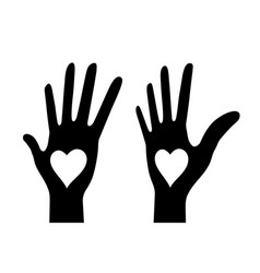 hand with heart icon set logo vector image