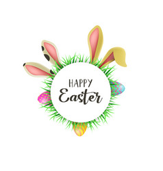 happy easter card with fun bunny ears and eggs vector image
