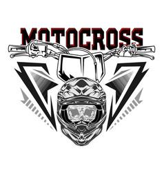 helmet motocross skull motocross rider vector image