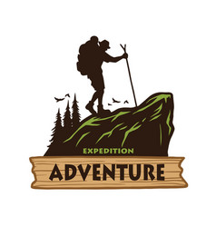hiking logo template emblem vector image
