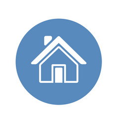 home icon placed in blue circle vector image