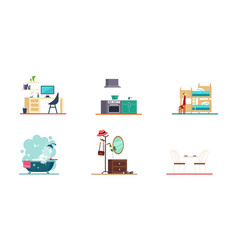 home interior home office bathroom kitchen vector image