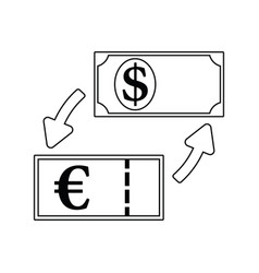 icon of currency dollar and euro exchange vector image