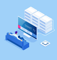 isometric concept smart tv interface a vector image