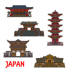 Japan temples royal architecture landmarks icons vector