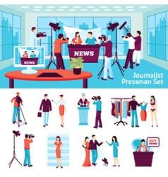 Journalist And Pressman Set vector image