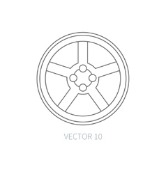 Line flat icon car repair part - wheel vector
