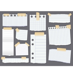 Line note papers Scotch taped lined paper pieces vector