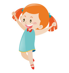 little girl in blue dress cheering vector image