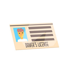 man driver license identification card cartoon vector image
