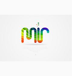 Mr m r rainbow colored alphabet letter logo vector