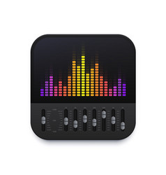 Music sound equalizer interface icon audio wave vector