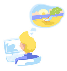 office worker dreaming about tropical beach vector image