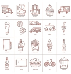 Outlined icons fast food vector image