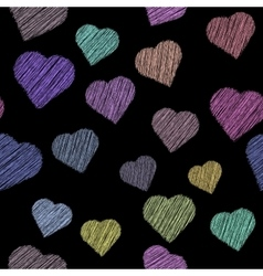 Pattern with paint hearts vector