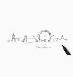 Pen line silhouette london vector