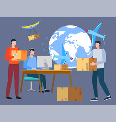 people work at postal office worldwide delivery vector image