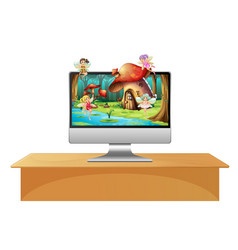 pixie fairy on computer screen vector image