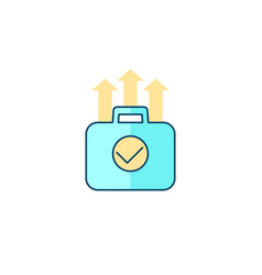 portfolio growth finance icon with outline vector image