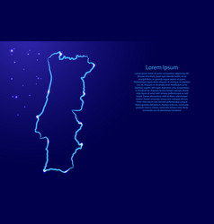 Portugal map from contour blue brush lines vector