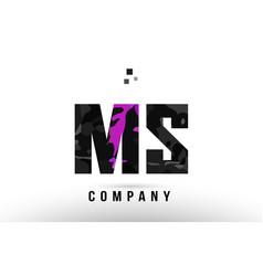 Purple black alphabet letter ms m s logo vector