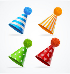 Realistic detailed 3d party hat set vector